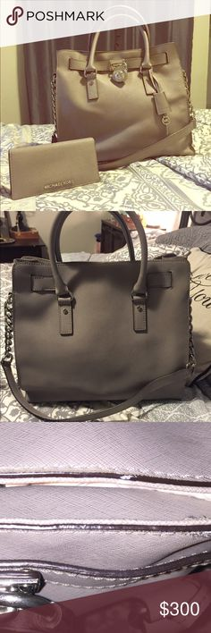 Michael Kors Large Hamilton in Pearl Grey LISTING FOR BAG & WALLET BOTH! Wallet is a Large Jet Set Slim Travel Wallet in Pearl Grey. *wow much deal* *authentic, duh. No fakes here* *DISCONTINUED COLOR!*  I❤️'d the crap out of this bag for about 3 yrs. Worn daily, ❤️'d daily. SEE COMMENTS FOR MORE PLEASE!!!       ✨✨✨✨NOT SEPARATING AT THIS TIME/NO TRADES/FINAL PRICE UNLESS BUNDLED❤️😘✨ KORS Michael Kors Bags Shoulder Bags