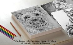 Wouldn't this adorable Yorkie be so fun to color? Hand drawn in classic grayscale, this coloring page is the perfect way to relax, stay creative and even hone your artistic skill! See more printable coloring pages @ ArtistryByLisaMarie.Etsy.com