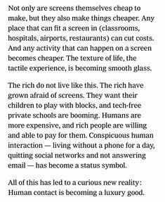 Vastaisku digitalisaatiolle? Ihmiskontaktista ylellisyystuote? Syntyykö uusia hybridimäisyydestä (digi + face-to-face) ammentavia ammatteja? New York Times, 23.3.19 New York Times, Classroom, Activities, Shit Happens, Life, Class Room