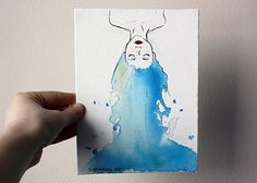 "Original Painting Artwork 6x8 Blue Haired Girl Water - ""Flow."""