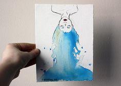 Original pintura Ilustración 6 x 8 chica de pelo azul por sacari
