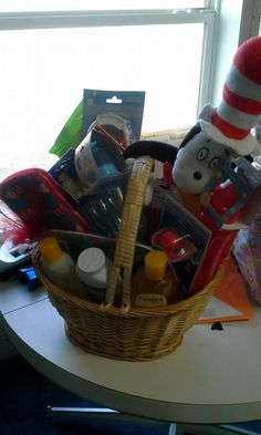 Check out this item in my Etsy shop https://www.etsy.com/listing/198789371/themed-gift-basket-for-a-baby-boy