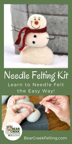 Snowman Needle Felting Kit (Super Easy Beginner) - Bear Creek Felting - Needle felted Snowman craft kit for beginners. Super Easy kit that will get you started needle felt - Needle Felting Kits, Needle Felting Tutorials, Needle Felted, Nuno Felting, Beginner Felting, Felt Snowman, Snowman Crafts, Felt Crafts, Diy Craft Projects