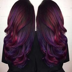 Are you looking for Dk Brown Purple Burgundy hair color hairstyles? See our collection full of Dk Brown Purple Burgundy hair color hairstyles and get inspired! Onbre Hair, Hair Dos, Prom Hair, Curly Hair, Hair Color Purple, Cool Hair Color, Burgundy Hair Ombre, Red Hair With Purple, Purple Ombre