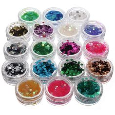 18 Colors Hexagon Nail Art Glitter Sequin Powder