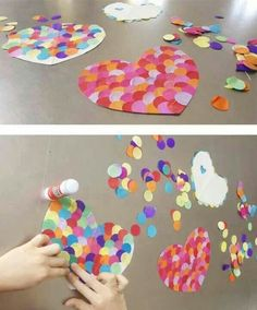 Corazones / Hearts / Herzen We have discovered giant confetti! Today we have used it to design heart Kinder Valentines, Valentine Crafts For Kids, Valentines Day Activities, Saint Valentine, Valentines Day Party, Diy Crafts For Kids, Holiday Crafts, Easy Crafts, Arts And Crafts
