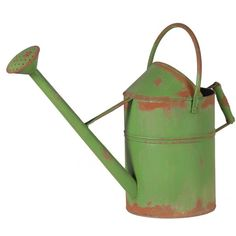 Rusty Green Watering Can ($76) ❤ liked on Polyvore featuring home, outdoors, garden tools, fillers, garden, green and interior