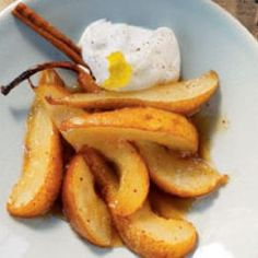 sauteed pears in honey and cinnamon Check out the website for more.