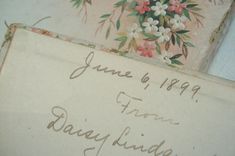 Book Inscription - found inside a vintage book - Such Pretty Things