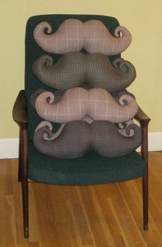 Mustache pillows! @Luana Biddulph Strader you need to make these for Bre for her b'day!! Maybe with better fabric though....