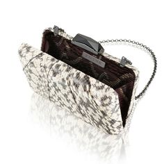 The Espey Elaphe Natural is a rectangular box clutch wrapped with classic natural snakeskin. With a cut glass clasp, KOTUR's signature brocade lining and featuring a drop-in shoulder chain, this medium-sized minaudiere fits two smartphones plus evening essentials.  This item is made of exotic material and that shipping time may vary, to allow for processing of appropriate customs documentation.