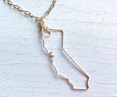 California Necklace - Custom State Love Necklace - State Jewelry - Personalized Necklace - CA Necklace - Silver or Gold Necklace - Travel