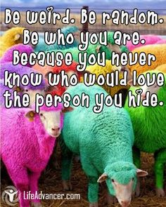 Be weird. Be random. Be who you are. Because you never know who would love the person you hide. ~ Unknown - @lifeadvancer