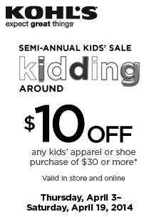 HOT! Kohl's: $10 off $30 Kids' Apparel coupon