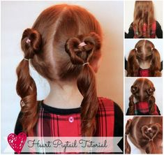 Heart Pigtail hairstyle for your Valentine #diy #hairstyle #Valentine
