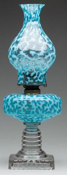 HOBBS CORAL REEF / SEAWEED SAPPHIRE OPALESCENT/BLUE SQUAT STAND LAMP  C. LATE 19TH CENTURY