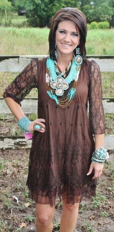 Just a Kiss Goodnight Chocolate Brown Lace Dress  $49.95-$52.95  http://www.giddyupglamouronline.com/catalog.php?item=5455