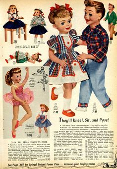 Vintage (and creepy) Dolls from a 1955 Spiegel catalog
