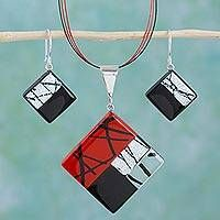 Hand Made Modern Art Glass Pendant and Earrings Jewelry Set - Sophisticate | NOVICA
