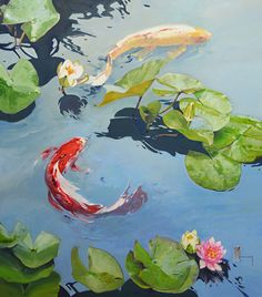 Hard Right by Chuck Larivey, Fine Art Reproduction, 40 x 36 x Water Lilies Painting, Lily Painting, Lotus Art, Guache, Mural Wall Art, Zen Art, Watercolor Artwork, Wildlife Art, Art Reproductions