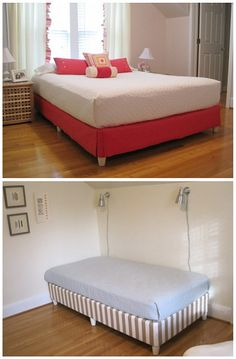 skip the bedframe : staple fabric to the boxspring then add furniture legs. freaking genius!!