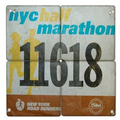 Your Race Bib on Set of 4 Marble Coasters BibCOASTERS - GoneForaRUN.com.