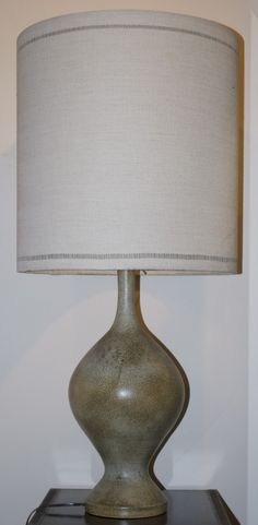 Jacques Serre, ceramic lamp, 46cm high, 88cm high with the lampshade, circa 1975
