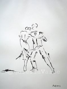 Original ink drawing - Tango Dance - europeanstreetteam