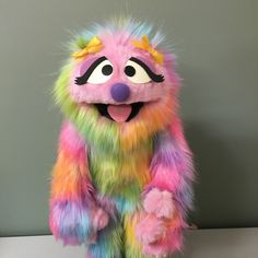 Full body Penelope in deluxe rainbow fur. Immediate delivery ready for Christmas! Be quick! Puppet Costume, Marionette Puppet, Felt Puppets, Hand Puppets, Full Body Puppets, Ventriloquist Puppets, Professional Puppets, Halloween Sewing, Puppet Patterns