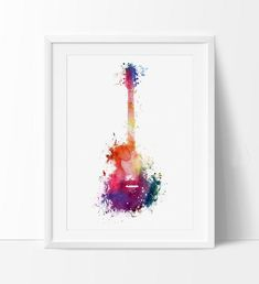Funky Guitar Art, Music Art, Music wall art, Watercolor Painting, Watercolor art, Wall art print, wall hanging, music decor poster (259)