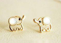 Cute Opal Elephant Stud Earrings