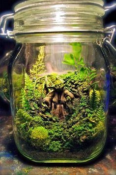 In a workshop far, far away, artist Tony Larson recreates amazing Star Wars Terrariums complete with Yoda, R2D2, and Ewoks. The tiny living sci-fi worlds are available through his Etsy Store, starting at around $100.00 for each realistic miniature scene