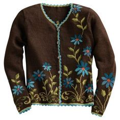 Aymara and Quechua artisans in Peru use an alpaca blend to create a dark brown cardigan with a blue and turquoise pattern of asters flowing from the hem and sleeves. Turquoise Pattern, Embroidered Clothes, Vintage Knitting, Knit Cardigan, Brown Cardigan, Knitting Stitches, Types Of Sleeves, Daily Fashion, Knit Crochet