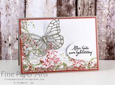 Eine bisschen Romantik zum Geburtstag Greeting Cards Handmade, Homemade Greeting Cards, Homemade Cards, Diy Birthday, Happy Birthday Cards, Butterfly Cards, Flower Cards, Fine Paper, Big Shot