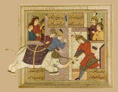 کشتن رستم پیل سپید را، نگاره لاکی، شاهنامه فردوسی، منسوب به معین مصور، نیمه دوم قرن 17 میلادی 14.6 در 19 سانتیمتر A LACQUERED ALBUM PAGE FROM THE SHAHNAMEH OF FIRDAUSI: RUSTAM KILLING THE WHITE ELEPHANT, ATTRIBUTABLE TO MU'IN MUSAVVIR, PERSIA, SAFAVID, 2ND HALF 17TH CENTURY Gouache heightened with gold, depicting a figure striking an elephant on the head with a mace 14.6 by 19cm. max.
