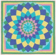 Ravelry: Giant Dahlia Afghan with Tunisian Entrelac Blocks pattern by Carolyn Christmas Crochet Afghans, Tunisian Crochet, Crochet Stitches, Blanket Crochet, Crochet Home, Crochet Baby, Knit Crochet, Afghan Crochet Patterns, Quilt Patterns