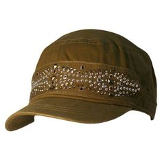 0c9e154a Luxury Divas Olive Green Military Cadet Cap Hat W/Silver Stud Design at  Amazon Women's Clothing store: Baseball Caps