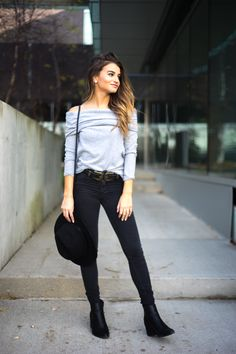 Double Buckle Belt and Off The Shoulder Top