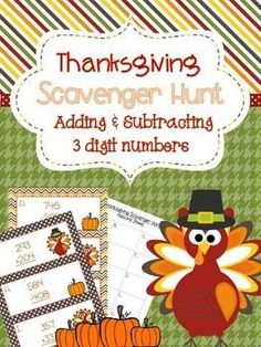 Addition and Subtraction Thanksgiving Scavenger Hunt School Holidays, November Holidays, September, Subtraction Activities, Holiday Activities, Thanksgiving Activities, Fourth Grade Math, Fun Math Games, Adding And Subtracting