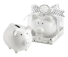 Lil Saver Favor Ceramic Mini-Piggy Bank in Gift Box with Polka-Dot Bow