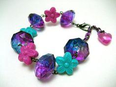 Chunky Flower Bracelet  Pink Aqua and Purple  by NightsRequiem, $15.00