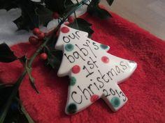 Dotty Ceramic Christmas tree decoration / by FeatofClaybyCarol