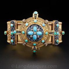 French Antique Turquoise and Enamel Bracelet and Brooch Set, An ingeniously designed mechanism allows for this exquisitely beautiful nineteenth-century French brooch to fit on and off the top of a matching, supple mesh bracelet to create a stunning, regal and versatile jewel.