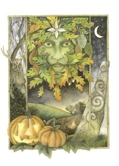 Wonderful cards with pagan, folkloric and mystical subjects, by British artist Christopher Bell. A big selection of magical designs with Green Man, Celtic and other subjects from the folklore and traditions of Britain. Fantasy Kunst, Fantasy Art, Yule, Holly King, Samhain Halloween, Halloween Art, Happy Halloween, Pagan Festivals, Green Knight
