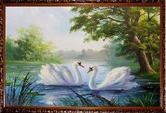 Два белых лебедя - Летний пейзаж <- Картины маслом <- Картины - Каталог | Универсальный интернет-магазин подарков и сувениров
