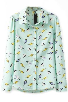 Green Button Down Bird Print ShirtOASAP Giveaway, 10 pieces per day, till the end of 2014! Easiest way to get free clothing!