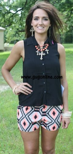 Neon Native Aztec Shorts in Orange and Black $21.95 www.gugonline.com