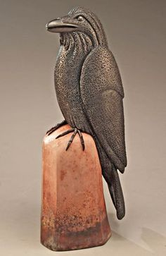 Seated Raven | Larson Clayworks Clay Birds, Ceramic Birds, Ceramic Animals, Ceramic Art, Pottery Animals, Bird Sculpture, Animal Sculptures, Sculpture Ideas, Ceramic Sculptures