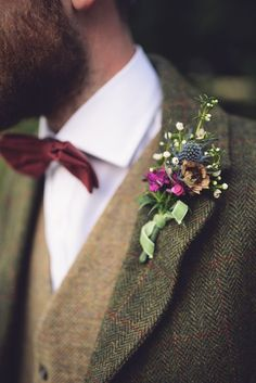 Bow Tie Groom Thistle Buttonhole Ribbon Hand Crafted Vintage Woodland Wedding http://www.jennawoodward.com/