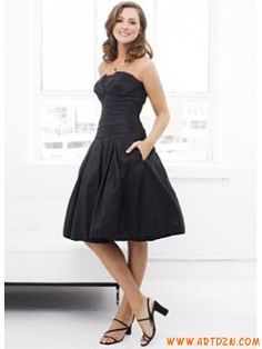 Black Strapless Ruched Cocktail Taffeta Dress